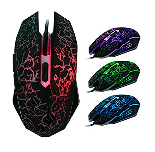 Professionale Colorful Backlight 4000dpi 6 pulsante ottico con cavo Gaming Mouse
