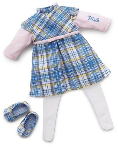 Trudi - 64377 - Accessoire pour Poupée - Robe Bleue Écossaise - 38 cm