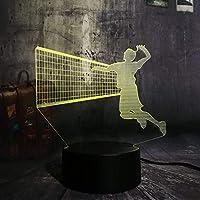スポーツバレーボールノベルティ3D Led Usbリモートナイトライト7色変更ランプ家の装飾子少年クリスマスギフト