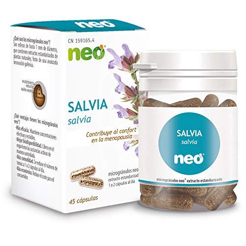 NEO | Estratto secco di foglie di salvia | Per ridurre i sintomi della menopausa | Regolatore ormonale | Privo di allergeni e OGM | 200 mg | 45 Capsule Naturali | Assumere da 1 a 2 compresse al giorno