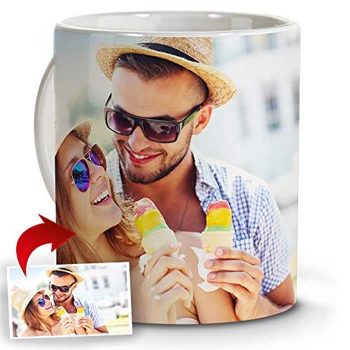 LolaPix Tazas Café Personalizadas con Foto. Regalos Personalizados con Foto. Taza Personalizada de Cerámica. Taza con Color Interior Blanco
