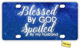Tobe Yours License Plate Cover Blessed God Spoiled My Husband - Starry Night Galaxy Printed Auto Truck Car Front Tag Personalized Metal License Plate Frame Cover 6