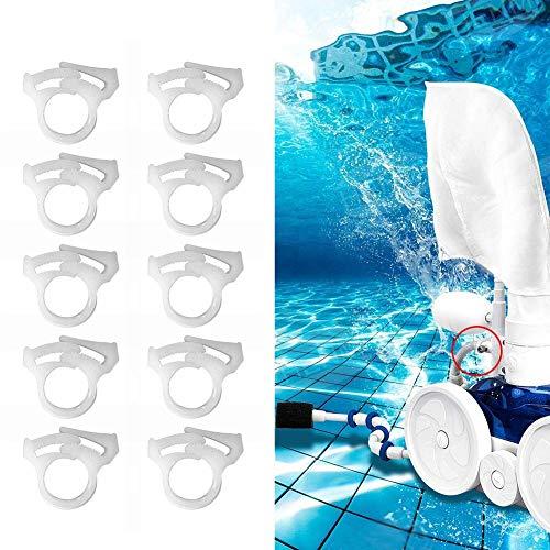 10 abrazaderas de sujeción para manguera de barrido, abrazaderas de repuesto para manguera de piscina, color blanco