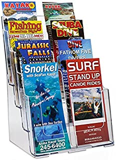 Source One 8 Pocket 4 Tier Clear Acrylic Brochure Holder Organizer Counter Top or Wall Mount