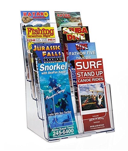 Source One 8 Pocket 4 Tier Clear Acrylic Brochure Holder Organizer Counter Top or Wall Mount (4 Pack)