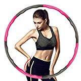 FMPCUON Fitness Exercise Hula Hoop for Adults/Kids,  Folding Fitness Wave Weighted 1 kg (2.2lbs), 8 Section Detachable Design -Professional Soft Fitness Hoola Hoop Exercise Fat Burning (Pink Gray)