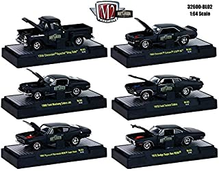 NEW 1:64 M2 MACHINES COLLECTION - MATTE BLACK BOOTLEGGER RELEASE BL02 IN ACRYLIC CASES Diecast Model Car By M2 Machines Set of 6 Cars