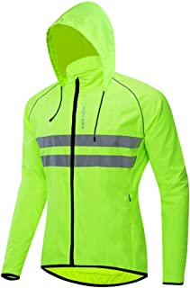 WOSAWE Packable Cycling Jacket Hooded Running Coat Lightweight Biking Windbreaker