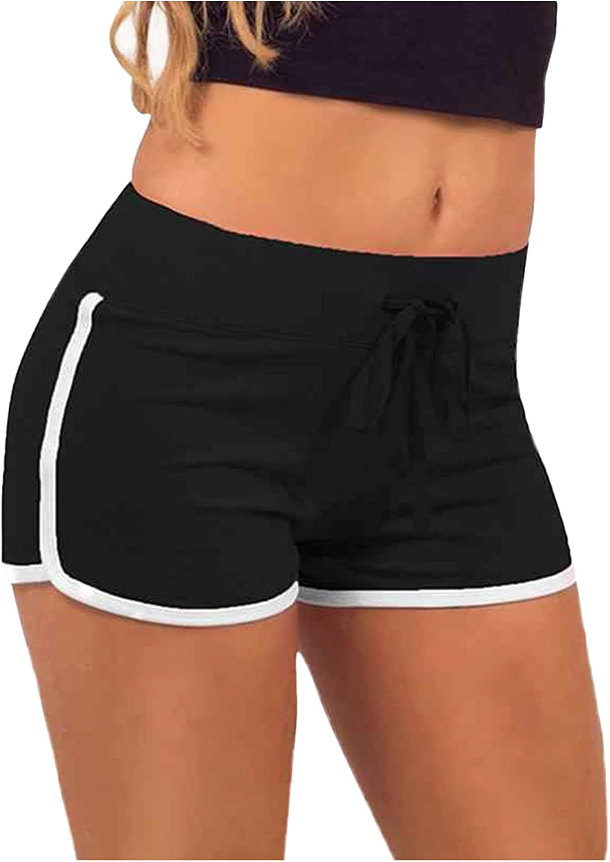 WSVVMQY 2021 Women's Sport Yoga Fitness Pants Stretch Sheath Mid Waist Drawstring Shorts