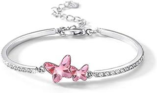 T400 Blue Purple Pink Swarovski Crystal Butterfly Bangle Bracelet Women Girls Thanksgiving Day Gift