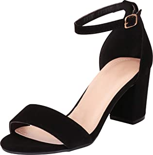 Women's Classic Single Band Buckled Ankle Strap Block Mid Heel Sandal