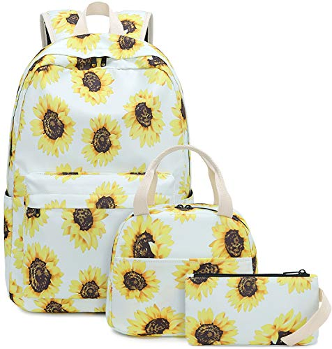 BLUBOON Teens Backpack Set Girls School Bags Kids Bookbags 3 in 1 (Sunflower White)