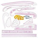 Tiazza - Juego de 13 reglas de plástico con forma de curva francesa para manualidades y c...