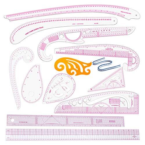 Tiazza - Juego de 13 reglas de plástico con forma de curva francesa para manualidades y costura