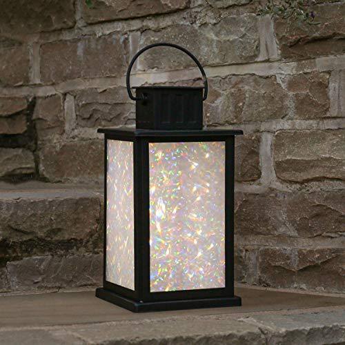 Festive Lights - solarbetriebene Garten Laterne – Marvello – schwarz, 10 LEDs mit glitzernden Lichtzauber-Effekt