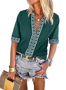 FARYSAYS Women s Fashion 2019 Casual Summer Boho Printed Short Sleeve Sexy V Neck Tee Shirts Loose Blouse Tops Green Large