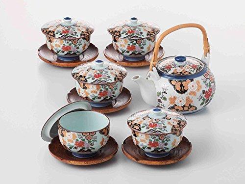 New TOKYO MATCHA SELECTION – [SUPER VALUE] Arita-yaki Porcelain: PEONY – Kyusu Tea pot, 5 tea cup & saucer Set w Box from Japan [Standard ship by EMS: with Tracking & Insurance]