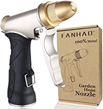 FANHAO Garden Hose Nozzle, 100% Heavy Duty Metal Spray Nozzle High Pressure Water Nozzle with 4 Patterns for Watering Garden, Washing Cars and Showering Pets - Full Brass Nozzle + ABS Non-Slip Grip