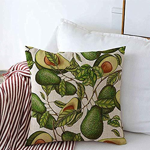 New-WWorld-Shop Housses d'oreiller Bio dessiné à la Main Avocat Jardin Ferme Nourriture Boisson Texture Graine Aquarelle récolte Tropicale Oreiller Housses de Coussin