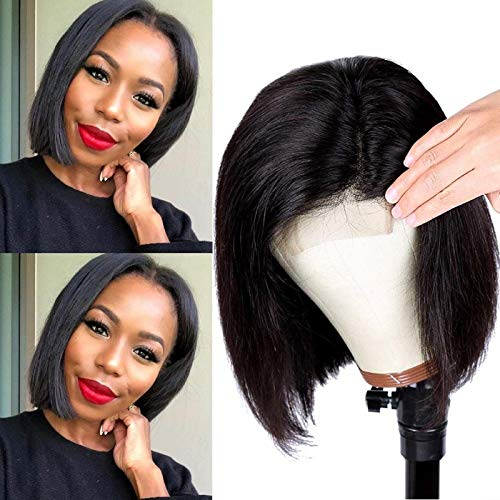 Lace Front Wigs Human Hair Bob Wigs 4x4 Lace Closure Remy Human Hair Wigs Pre Plucked Natural Color Straight Lace Front Bob Wigs Middle Part Short Bob Wigs 8 Inch