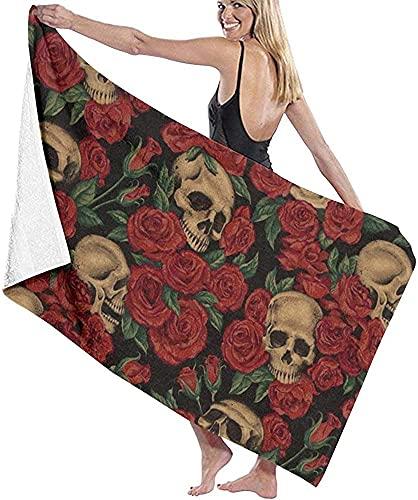 Toalla de ducha para mujer, diseño de calavera y rosas para viajes, waffle Spa de secado rápido, toalla de playa para niñas, 80 x 130 cm