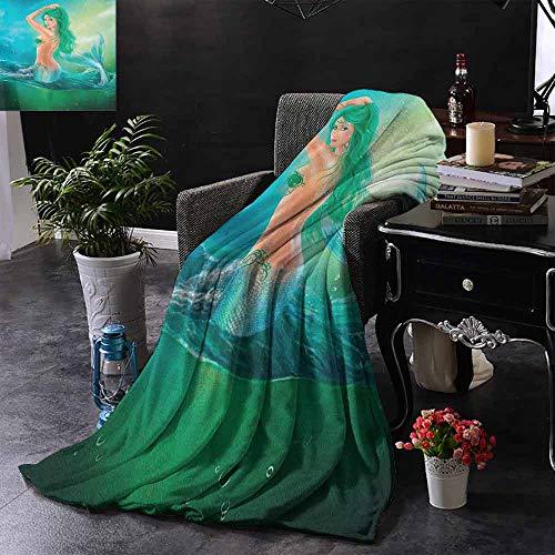 ZSUO Digital Printing Deken Meisje met Oceanische Kapsel Vissen en Krab in Golven Imaginary Artwork Warm & Hypoallergeen Wasbare Bank/Bed Gooien