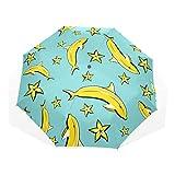 折り畳み傘 折りたたみ傘 日傘 手開 UVカットき 三つ折り 晴雨兼用 梅雨対策 耐強風 8本骨 男女兼用 バナナ 果物 黄色