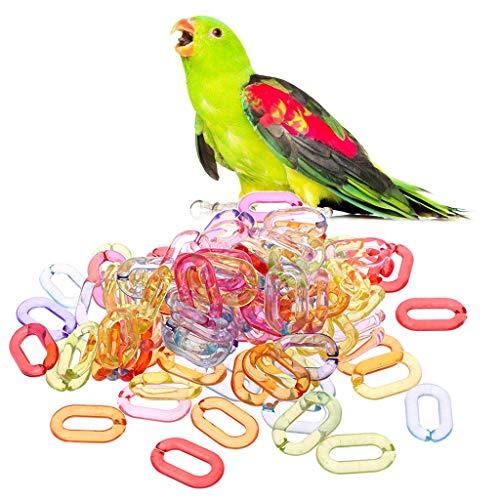 Yanhonin 100 Pcs Bird Jouet DIY Accessoires Plastique Crochets Chaîne pour Perroquet Perruche Perruche Amazones Calopsittes Inséparables Gris du Gabon Cacatoès Amazon Cage Supplémentaire
