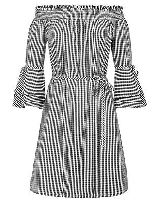 GRACE KARIN Women Off Shoulder Cocktail Dress Loose Shift Dress with Belt