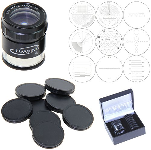 iGaging Stand Measuring Magnifier Comparator 7 LED Lighted Loupe 10X w/ 9 Reticles Scale Illuminated