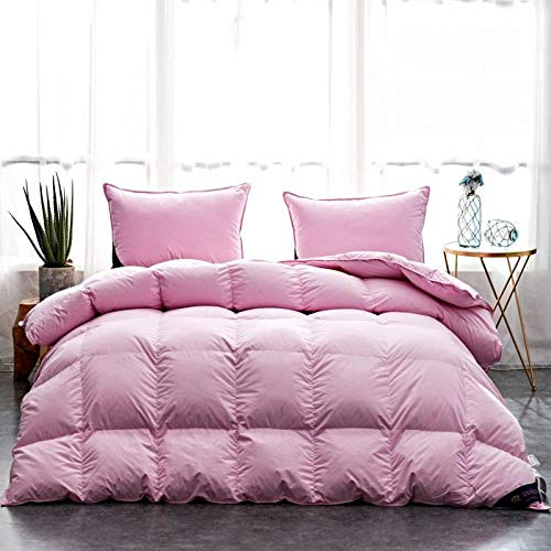 Hahaemall duvet single bed Down duvet King Size Down Duvet-Cotton Anti Dust Mite&Down Proof Fabric-Anti Allergen Winter Quilt-180x220cm-2300g_M