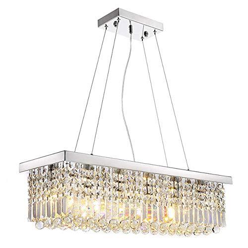 WEPAINTING - Lámpara de techo (cristal, LED, 8 luces, 25 cm, metal, galvanizado, moderno, contemporáneo, 110-120 V, 220-240 V)