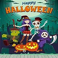 Qinunipoto 背景布 ハロウィン happy halloween パンプキンライト パーティー キャンディー 吸血鬼 撮影用 写真撮影用 写真の背景 背景幕 無反射布 写真スタジオ 写真 カスタマイズ可能な背景 ビニール 1.8x1.8m