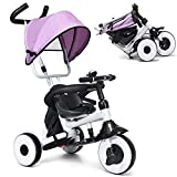 Baby Joy 4-in-1 Kids Tricycle Folding Baby Tricycle w/Adjustable Awning, Folding ABS Foot Pedals,...