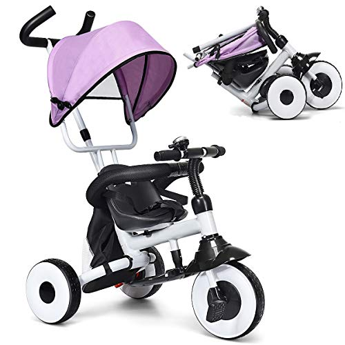 BABY JOY 4-in-1 Kids Tricycle Folding Baby Tricycle w/Adjustable Awning, Folding ABS Foot Pedals, Storage Bag, Sponge Guardrail, Shock-absorbing Wheels, Tricycle for Children Aged 1-5 Years Old (Pink)