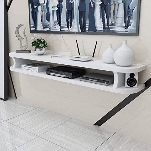 Zwevende plank Tv-meubel aan de muur WiFi-router Set-top box Dvd-speler Kleine luidspreker Projectorplank Wandplank TV-standaard Tv-bord (maat: wit 80 cm)