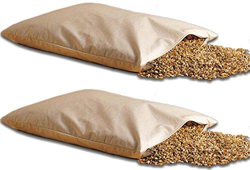 Natur Doppelpackung Bio Dinkelkissen 40 * 80cm mit Reißverschluss - staubdichte Baumwoll Kissenhülle (Kissen-Inlett) - mit Bio Dinkelspelz/Dinkelspreu Füllung