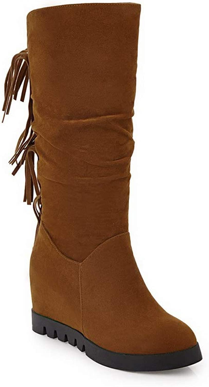 AdeeSu Womens Fringe Structured Nubuck Urethane Boots SXC02738