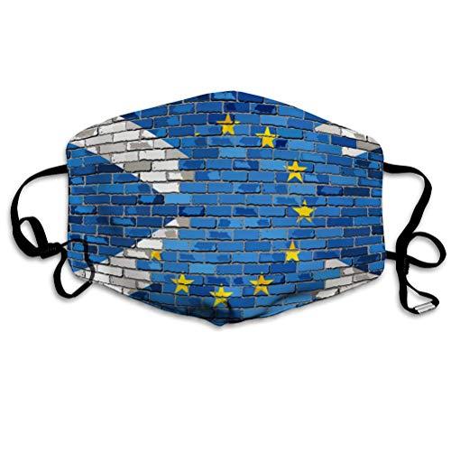 PatrickOgden Mundschutz Atmungsaktive wiederverwendbare Backsteinmauer im Freien Europäische Union und Schottland Flaggen Mundabdeckungen