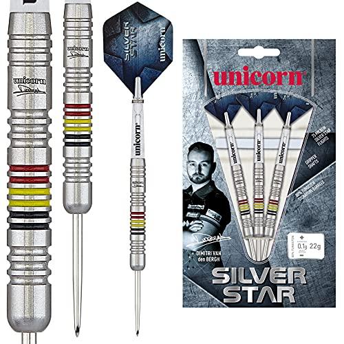 Unicorn Silverstar Tung Dvdb, Dimitri Van den Bergh, Silver Star, Player Empfehlenswert Dart Set, 80% Wolfram, Stahlspitze, 22g, Silber, 22 g