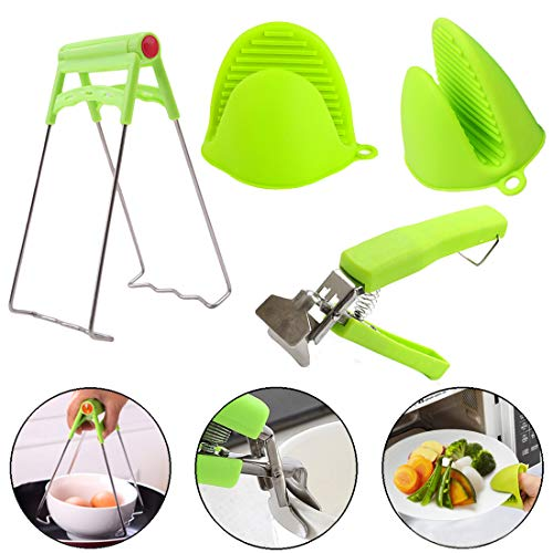 QISF 4PCS Kitchen Tongs Anti-Hot Bowl Clip Dish Gripper Clip Silicone Thicken Gloves Stainless Steel Pan Retriever Tongs Pot Gripper Dish Holder for Bowl Plate Microwave
