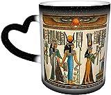 TazzaBlack Egyptian Old Culture ColorTazza in ceramica sensibile al calore, tazza nel cielo per tazza magica nera Tazza cambia colore attivata dal calore, idea regalo divertente..