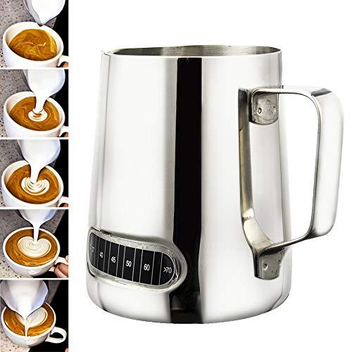 Jarra de leche de acero inoxidable, 600 ml, control de la temperatura, acero inoxidable, taza de leche para leche espumadora perfecta para capuchino, barista expreso