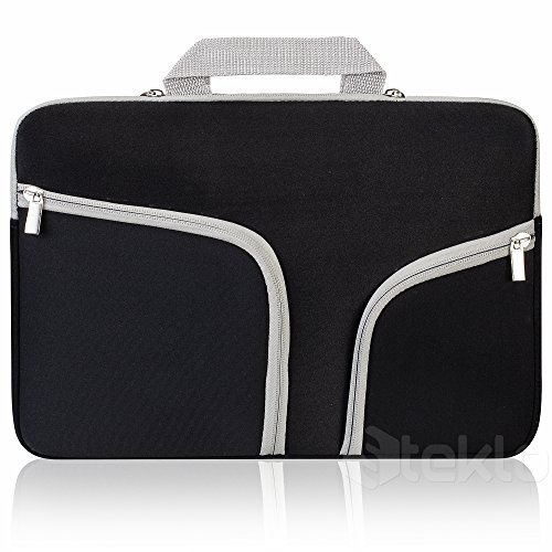 Steklo - Laptop Sleeve 13 inch Neoprene MacBook Sleeve Case - Perfect MacBook Sleeve Cover with Pockets for MacBook Pro 13 inch Sleeve and MacBook Air 13 inch Sleeve, Laptop Bag 13 inch - Black