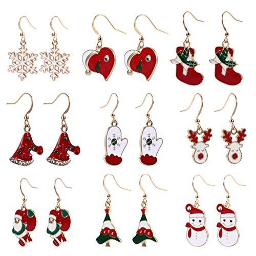 HEALLILY 9 Paar Kerst Oorbel Set Kristal Drop Bengelen Oorbellen Hoepel Oorbellen Vakantie Oor Sieraden Cadeau Xmas Oordruppels Voor Vrouwen Meisjes Feest Decoratie