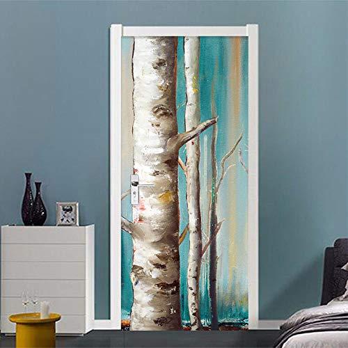 BXZGDJY deurbehang boomstam 3D deursticker voor binnendeuren, deurstickers, zelfklevende deurposters, fotobehang, 3D-deur wandtattoo, deurbehang, zelfklevend deurposter - fotobehang, deurfolie, poster behang 80X200CM