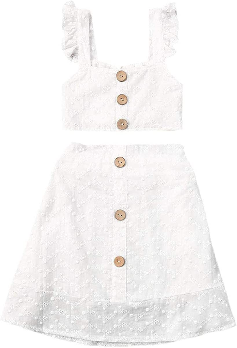 Toddler Girls Max 85% OFF Outfit San Francisco Mall Set Sleeveless Vest Tops Lace-up Ruffled +