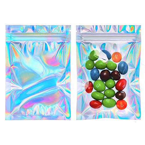 Cherodada 4x6 inch 100 Pcs Smell Proof Bags Resealable Holographic Ziplock Bag Food Safe Storage Bags