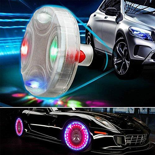 ASWT -Luces de Rueda de neumático de Coche, 4 Piezas LED de Colores, Luces solares de Cubo de Rueda de Coche, luz de Tapa de válvula de Aire, Motocicleta, con sensores de Movimiento