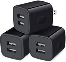 Wall Charger Block, 2.1A/5V Dual Port USB Wall Plug Power Adapter 3Pack Black Charger Cube Fast Charging Compatible iPhone...